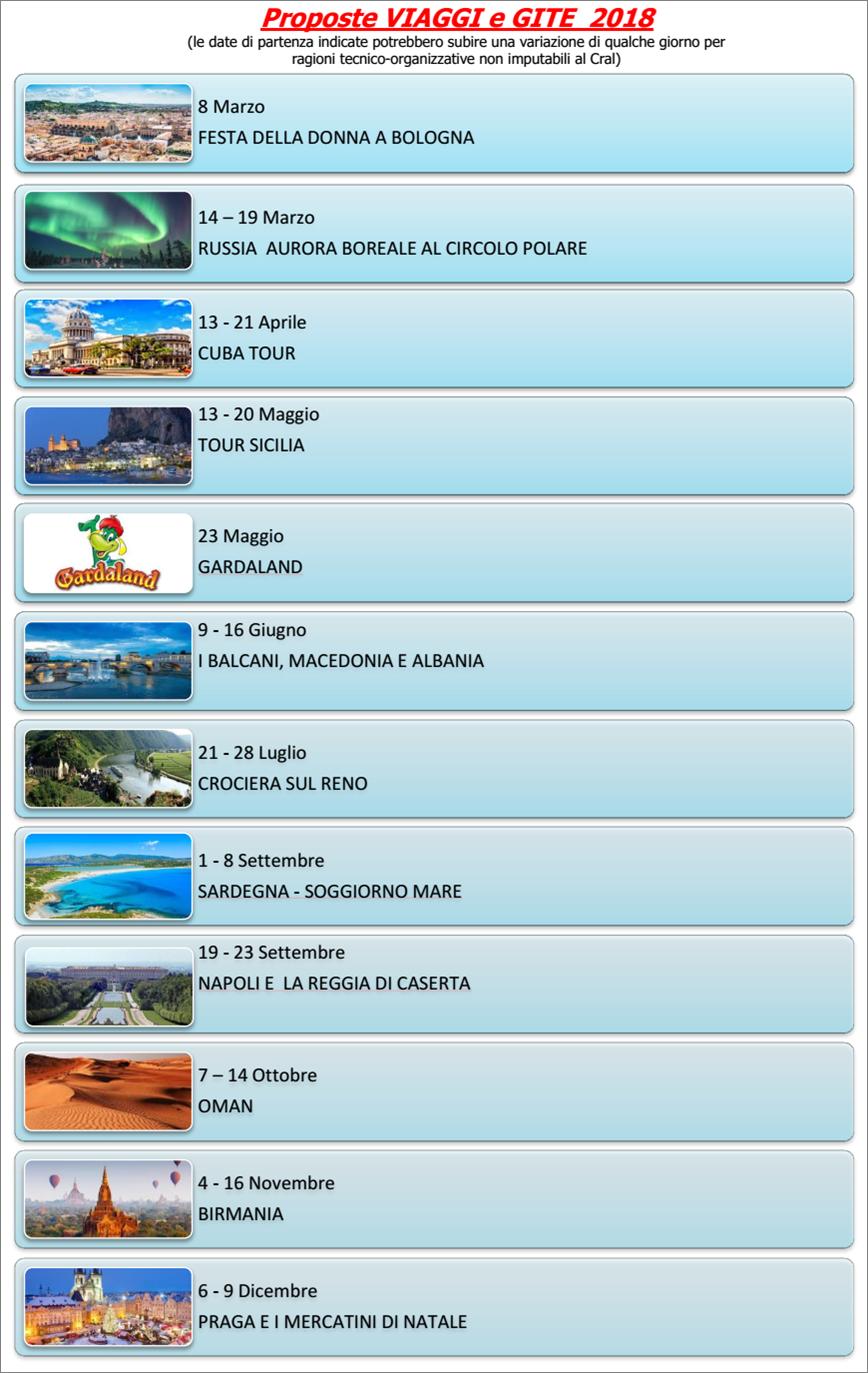 programma viaggi 2018